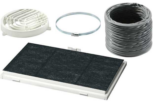 For recirculation operation Charcoal cassette filter Deflector Flexible hose ø 150 mm 800 mm long with...