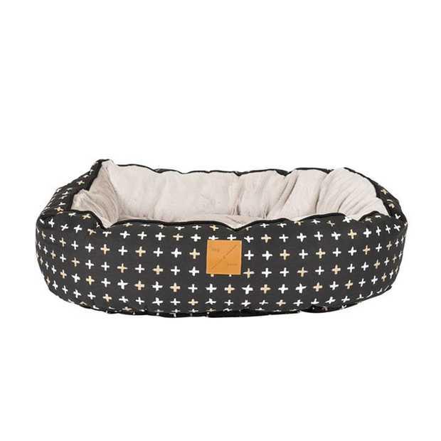 Mog & Bone 4 Seasons Reversible Dog Bed - Black Metallic Cross - Small