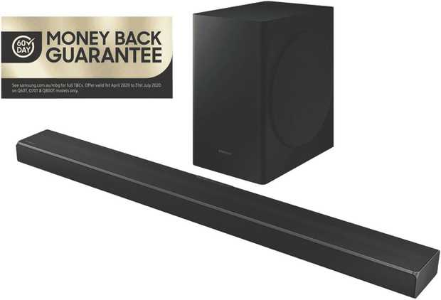 The Samsung 5.1ch 360W Soundbar HW-Q60T/XY has five channels. It has a 360 W total output, so you can...
