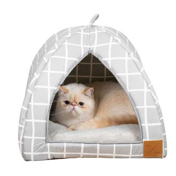 Mog & Bone Cat Igloo Bed with Fleecy Cushion - Grey Check