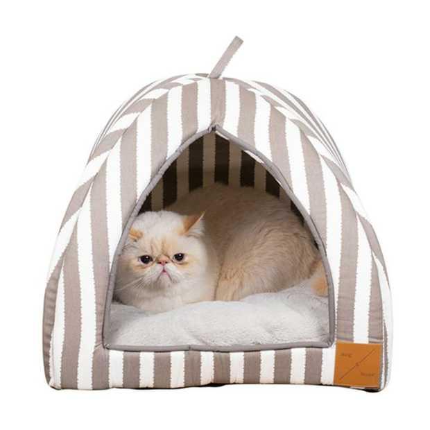 Mog & Bone Cat Igloo Bed with Fleecy Cushion - Latte Hamptons Stripe