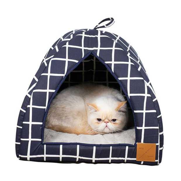 Mog & Bone Cat Igloo Bed with Fleecy Cushion - Navy Check