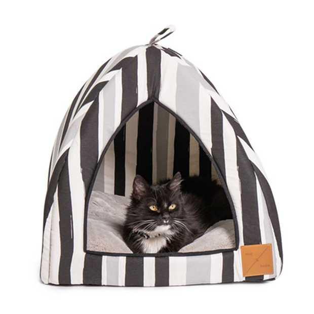 Mog & Bone Cat Igloo Bed with Fleecy Cushion - Pebble Black Brush Stroke