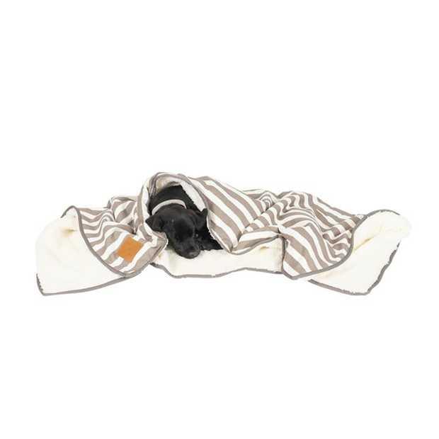 Mog & Bone Soft Reversible Pet Blanket Latte Hamptons Stripe