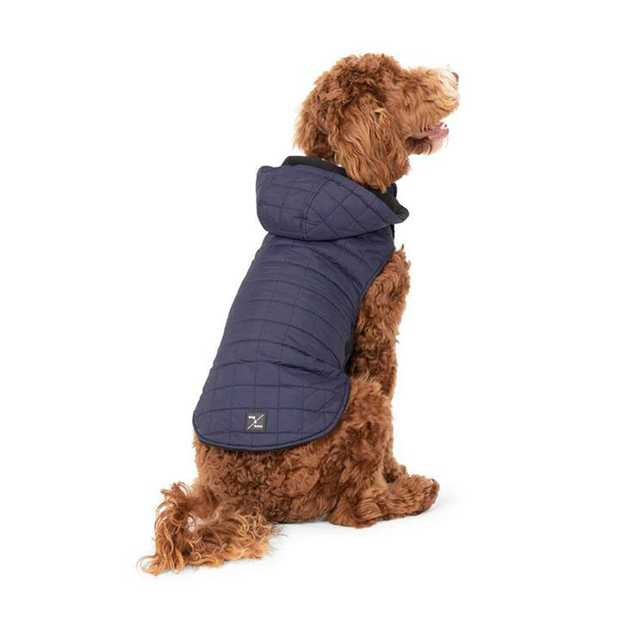 Mog & Bone Waterproof Puffer Dog Jacket Navy M/L