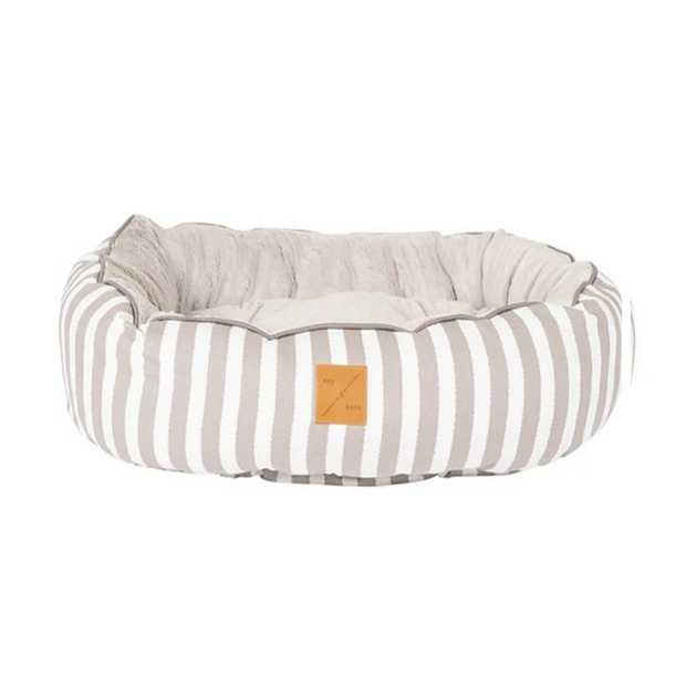 Mog & Bone 4 Seasons Reversible Dog Bed - Latte Hamptons Stripe - Medium