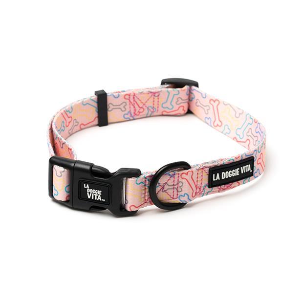 la doggie vita collar neon bone pink  medium | La Doggie Vita dog | pet supplies| Product Information:...