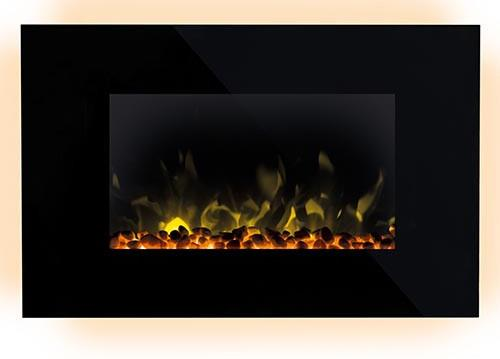 2kW heat output 2 heat settings (1000W / 2000W) Stylish wall fire black with glass fascia Colour...