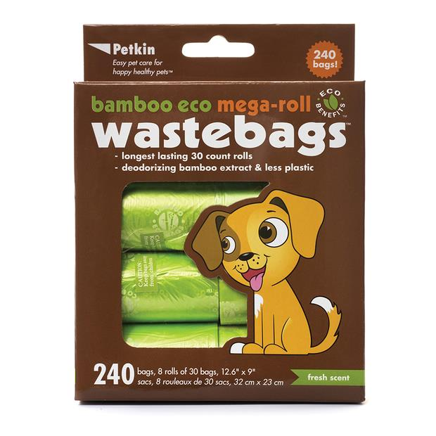 petkin bamboo eco mega roll wastebags  240 pack | Petkin dog | pet supplies| Product Information:...