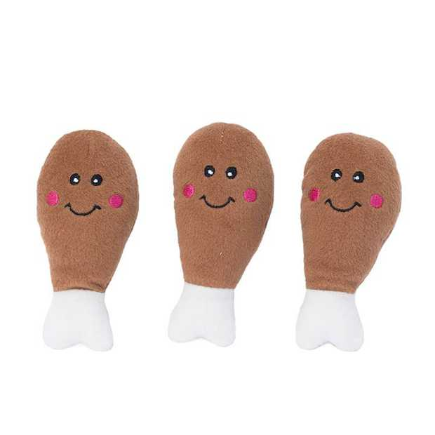 Zippy Paws Miniz Squeaker Dog Toy - 3-Pack of Mini Drumsticks