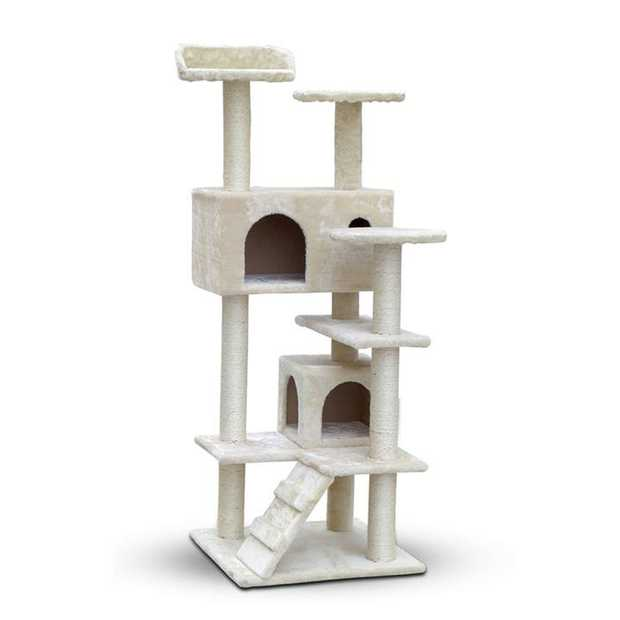 Sisal and Carpet Medium Cat Scratch Tree - 134cm Beige