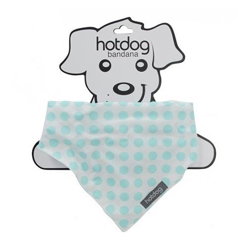 Hot Dog Cotton Bandana Dog or Cat Scarf - White with Aqua Dots