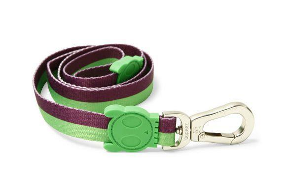 Zee Dog Adjustable Dog Collar - Vice Green & Purple Stripe - Small