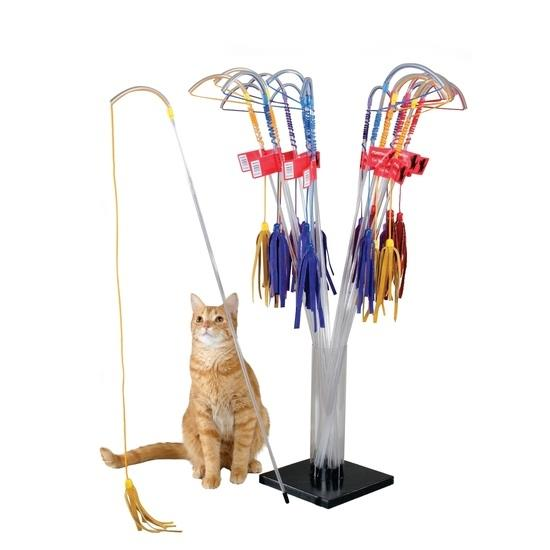 PURRfect Interactive Cat Wand Toy with Leather Teasers