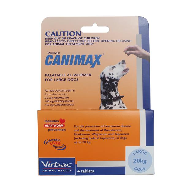 virbac canimax wormer large dog  4 pack | Virbac dog Flea&Tick; Control | pet supplies| Product...