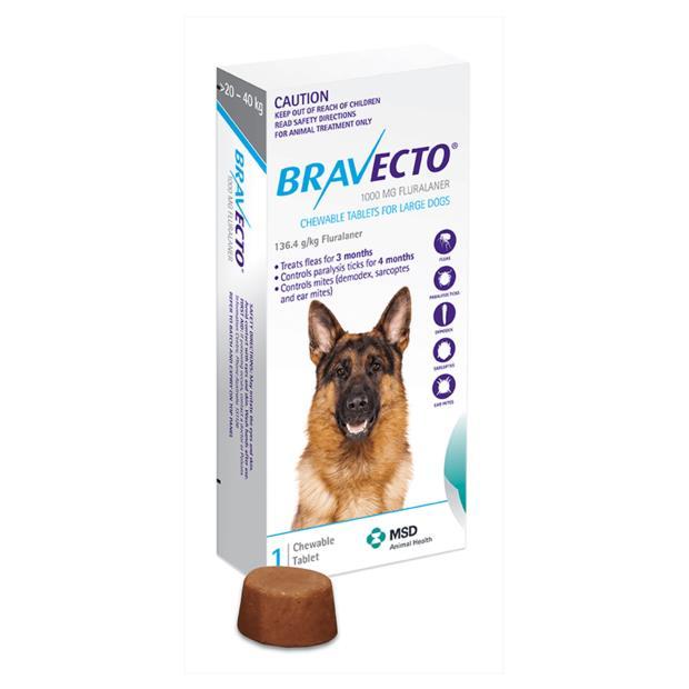 bravecto large dog blue  4 pack | Bravecto dog Flea&Tick; Control | pet supplies| Product Information:...