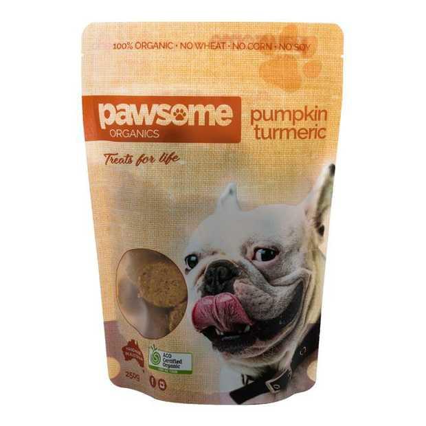 Pawsome Organics Pumpkin and Turmeric Certified Organic Dog Treats 200g