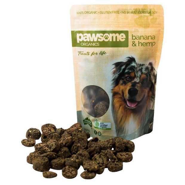 Pawsome Organics Banana and Hemp Certified Organic Dog Treats 200g