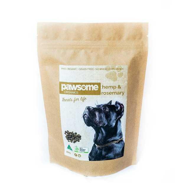 Pawsome Organics Hemp and Rosemary Certified Organic Dog Treats 250g