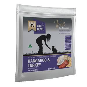 Meals for Mutts Kangaroo & Turkey Cat Dry Food 2.5kg is hypoallergenic, gluten-free and dairy free...