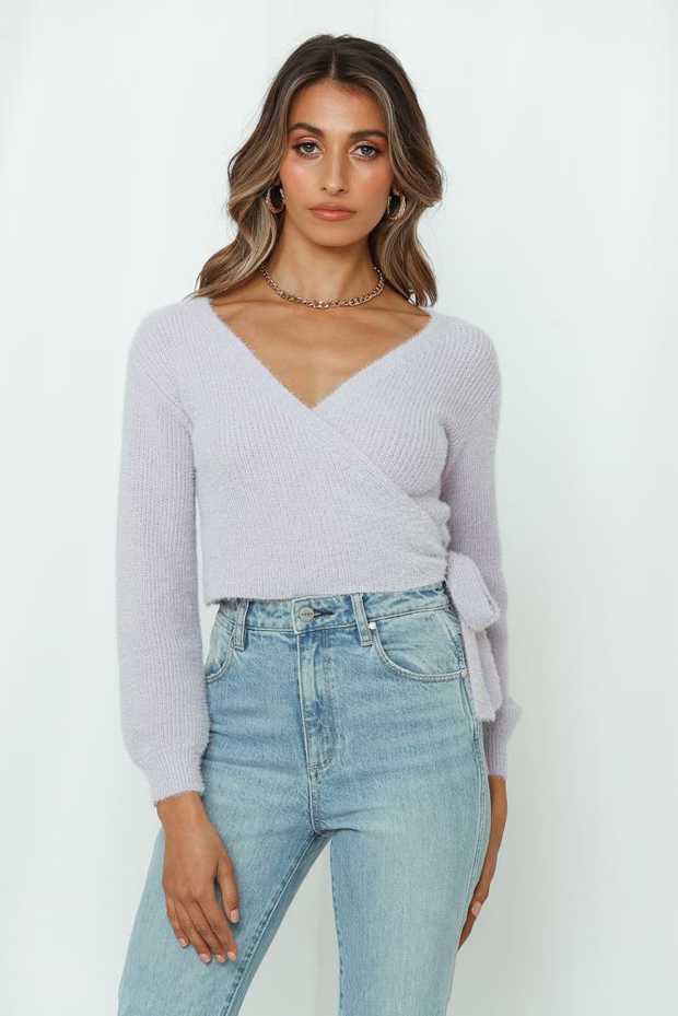 Length from shoulder to hem of size S: 42cm. Purple knit top. Non-lined. Cold hand wash only.