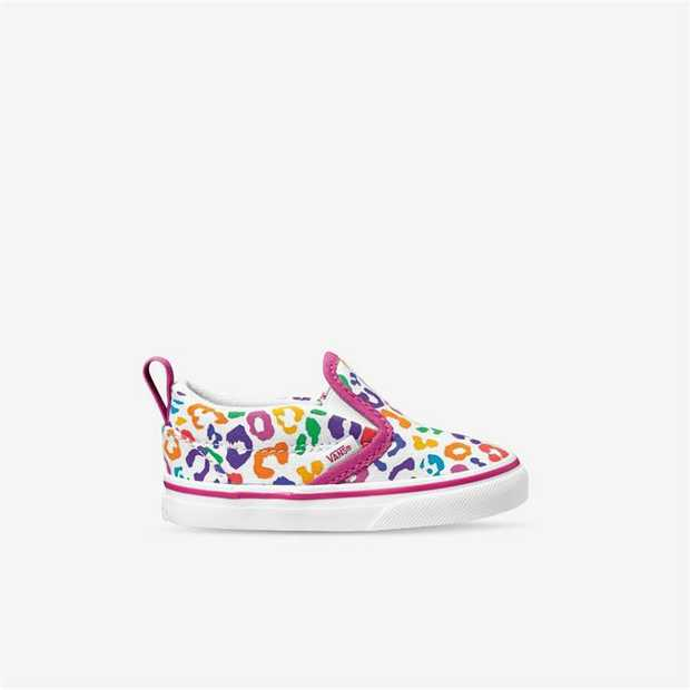A low profile slip-on shoe, the Kids Rainbow Leopard Classic Slip-On has elastic sides and padded...