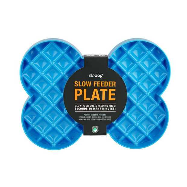 SloDog No Gulp Bone-Shaped Slow Food Plate for Cats & Dogs - Blue