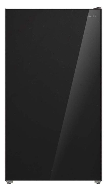 Black glass finish Reversible door Glass shelves Chiller compartment Manual defrost 2 stars rating ...