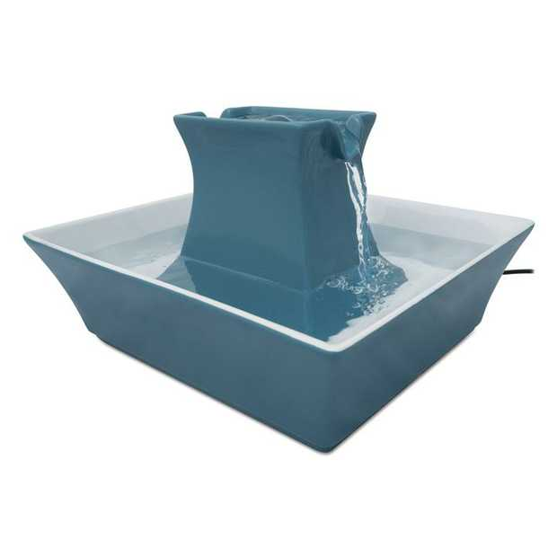 Drinkwell Stoneware Pagoda Ceramic Water Fountain 2 litres - Himalayan Blue