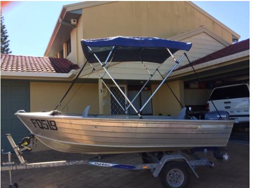 3.8 Meter Savage Snipe    15hp Yamaha Motor   Depth Sounder, Bimini   2 Life Jackets, Boat...