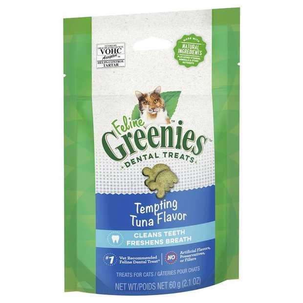 Greenies Feline Cat Dental Treats Tempting Tuna Flavour 60g