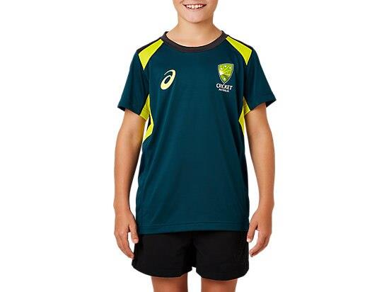 ASICS Kid's Cricket Australia Replica Training Tee - Blue 14