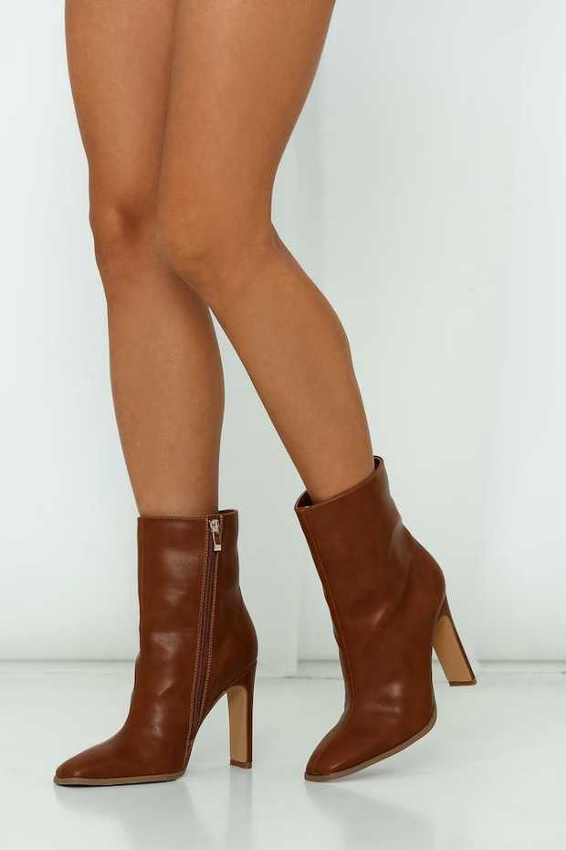 Dark tan boots. 