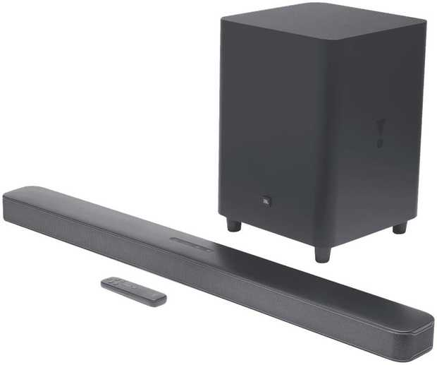 "The JBL Bar 5.1 Channel Soundbar has panoramic surround sound. With 550 Watts of Power and a 10""..."