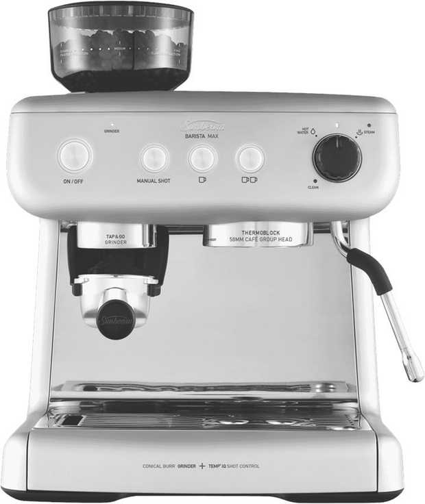 Serve coffee drinks at your convenience with the Sunbeam EM5300S's espresso maker. It features a silver...