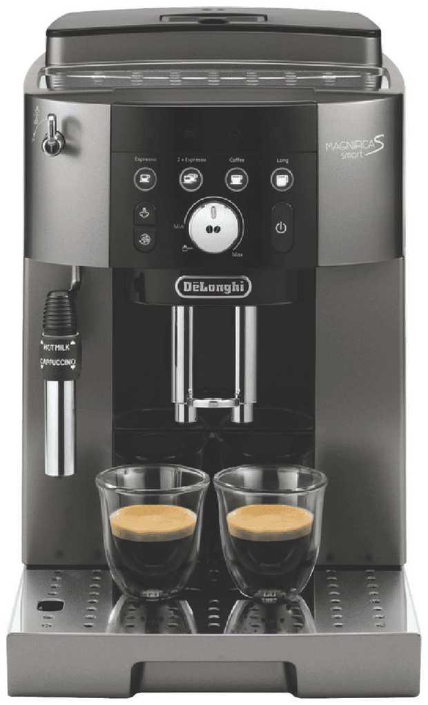 The DeLonghi ECAM25033TB has an espresso maker, so you can enjoy espresso drinks at your convenience.