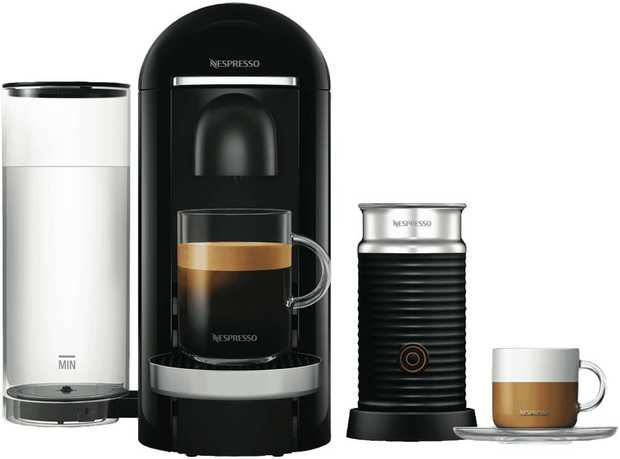 The Nespresso BNV450BLK2JAN1 has a black finish, a 1.2 litre capacity, and a frother. Enjoy easy...