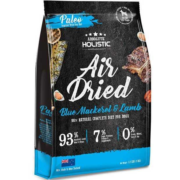Absolute Holistic Air Dried Dog Food Blue Mackerel & Lamb 1kg - Made in New Zealand