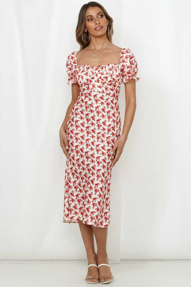 Length from shoulder to hem of size S: 114cm. Red and white print midi dress. Lined bust. Cold hand...