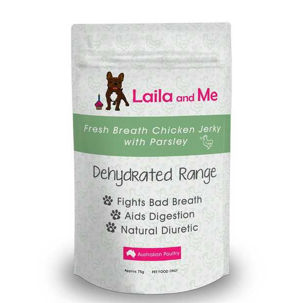 Laila & Me Dried Australian Chicken Breast & Parsley Fresh Breath Dog Treats 75g