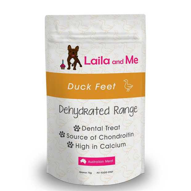 Laila & Me Dehydrated Australian Duck Feet Crunchy - Pack of 4 Dog Treats
