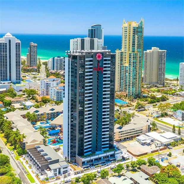 Experience a relaxing ocean-view stay at Arise Ruby Gold Coast apartments, located just a two-minute...