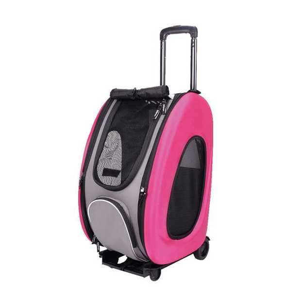 Ibiyaya EVA Pet Carrier/Wheeled Carrier Backpack - Hot Pink