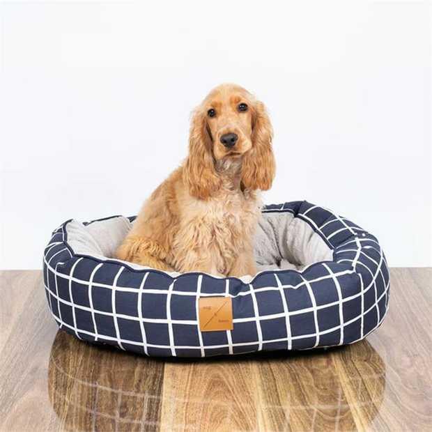 Mog & Bone 4 Seasons Reversible Dog Bed - Navy Check - Large