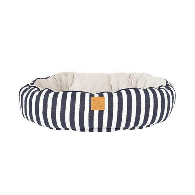 Mog & Bone 4 Seasons Reversible Dog Bed - Navy Hamptons Stripe - X-Large
