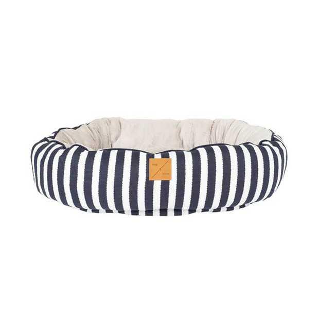 Mog & Bone 4 Seasons Reversible Dog Bed - Navy Hamptons Stripe - X-Large