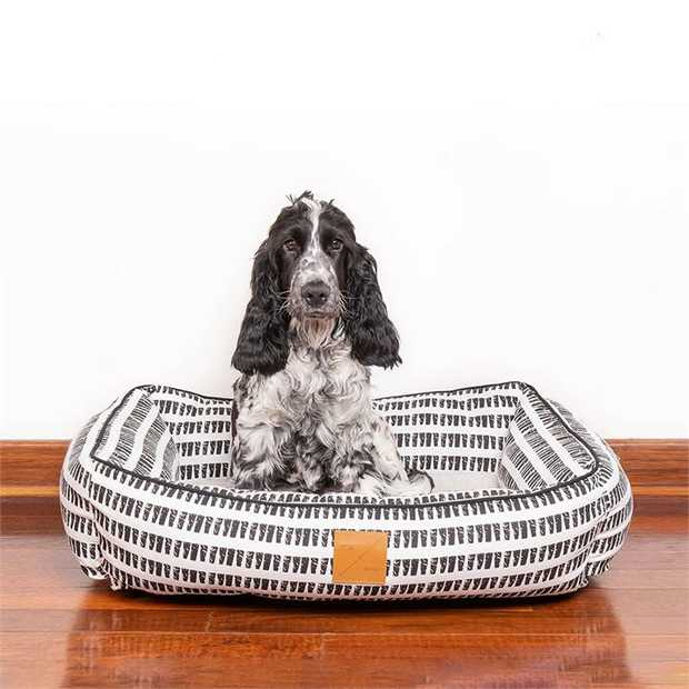 Mog & Bone Bolster Dog Bed - Black Metallic Cross - Large