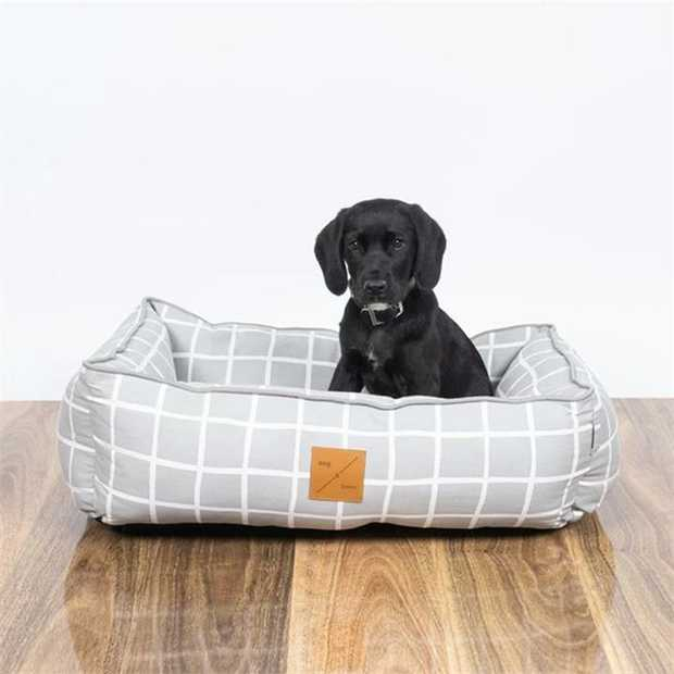Mog & Bone Bolster Dog Bed - Grey Check - Small