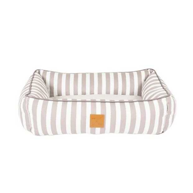 Mog & Bone Bolster Dog Bed - Latte Hamptons Stripe - Large