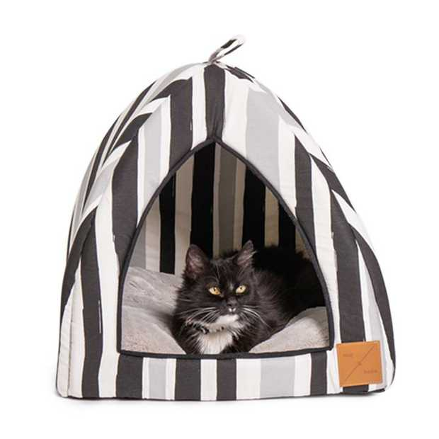 Mog & Bone Cat Igloo Bed with Fleecy Cushion - Pebble Black Brush Stroke